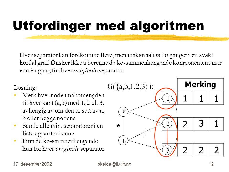 Algoritmen litt mer detaljert Gitt graf G = (V,E). Er G svakt kordal? for alle kanter e  E finn N(e) finn alle minimale separatorer s i N(e) for hver