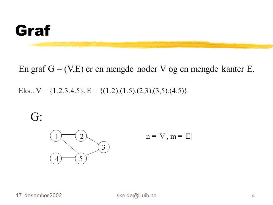 17. desember 2002skeide@ii.uib.no3 Oversikt Introduksjon Grafer Svakt kordale grafer Gjenkjenning av svakt kordale grafer Sekvensiell implementasjon a
