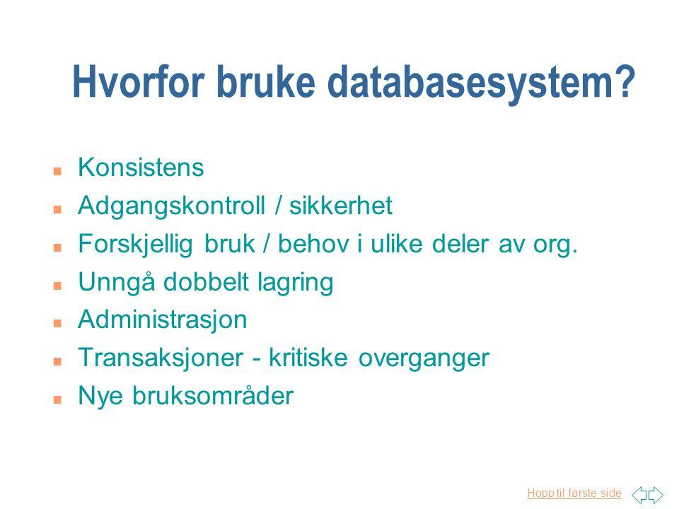Hopp til første side Hvorfor bruke databasesystem.