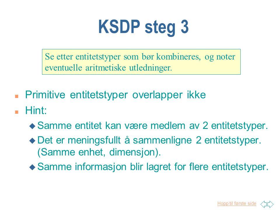 Hopp til første side KSDP steg 3 Se etter entitetstyper som bør kombineres, og noter eventuelle aritmetiske utledninger.