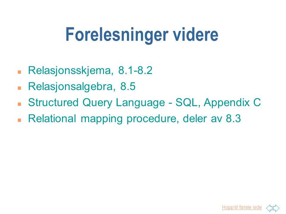 Hopp til første side Forelesninger videre n Relasjonsskjema, 8.1-8.2 n Relasjonsalgebra, 8.5 n Structured Query Language - SQL, Appendix C n Relational mapping procedure, deler av 8.3