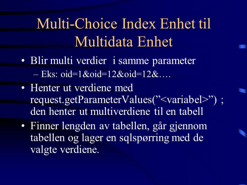 Multi-Choice Index Enhet til Multidata Enhet Blir multi verdier i samme parameter –Eks: oid=1&oid=12&oid=12&…. Henter ut verdiene med request.getParam