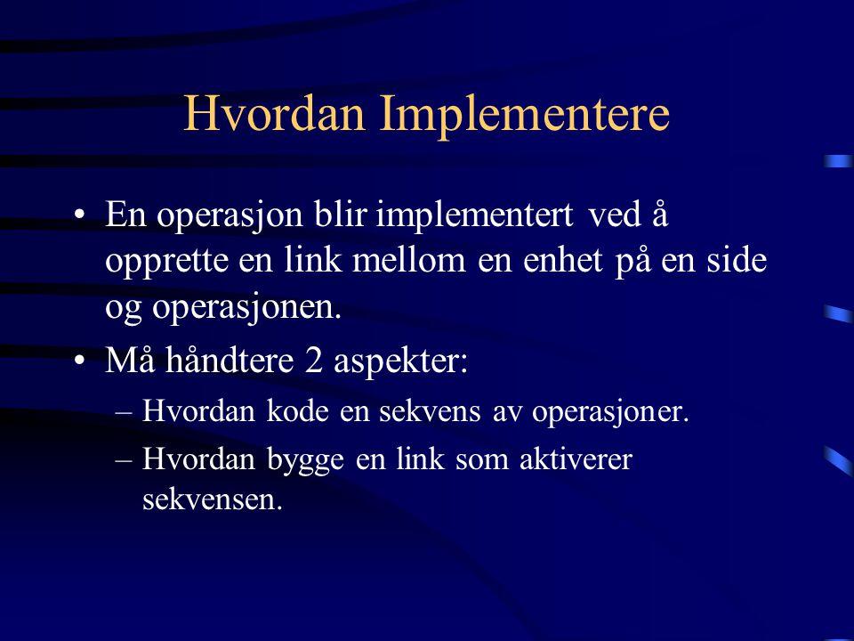 Hvordan Implementere En operasjon blir implementert ved å opprette en link mellom en enhet på en side og operasjonen. Må håndtere 2 aspekter: –Hvordan