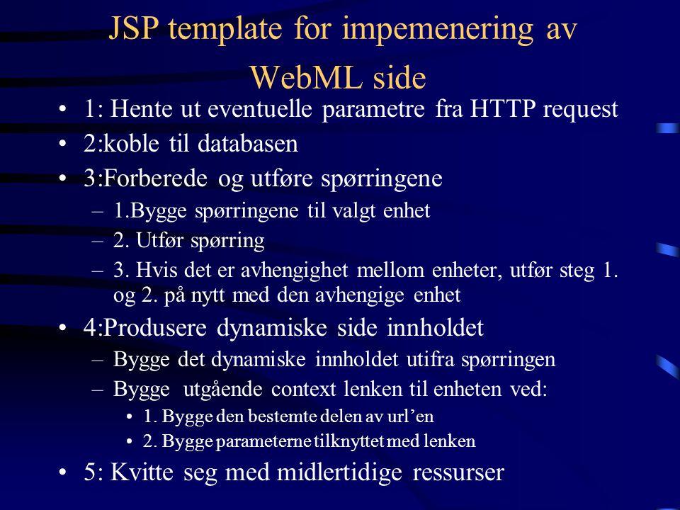 Implementasjon Av Operasjons Sekvenser HTML implementasjon av en link som aktiverer en operasjon må følge disse reglene: –Linken må sende med (utenom sine egne parametre) alle parametre sendt ved transportlinker som når operasjoner i samme sekvens.