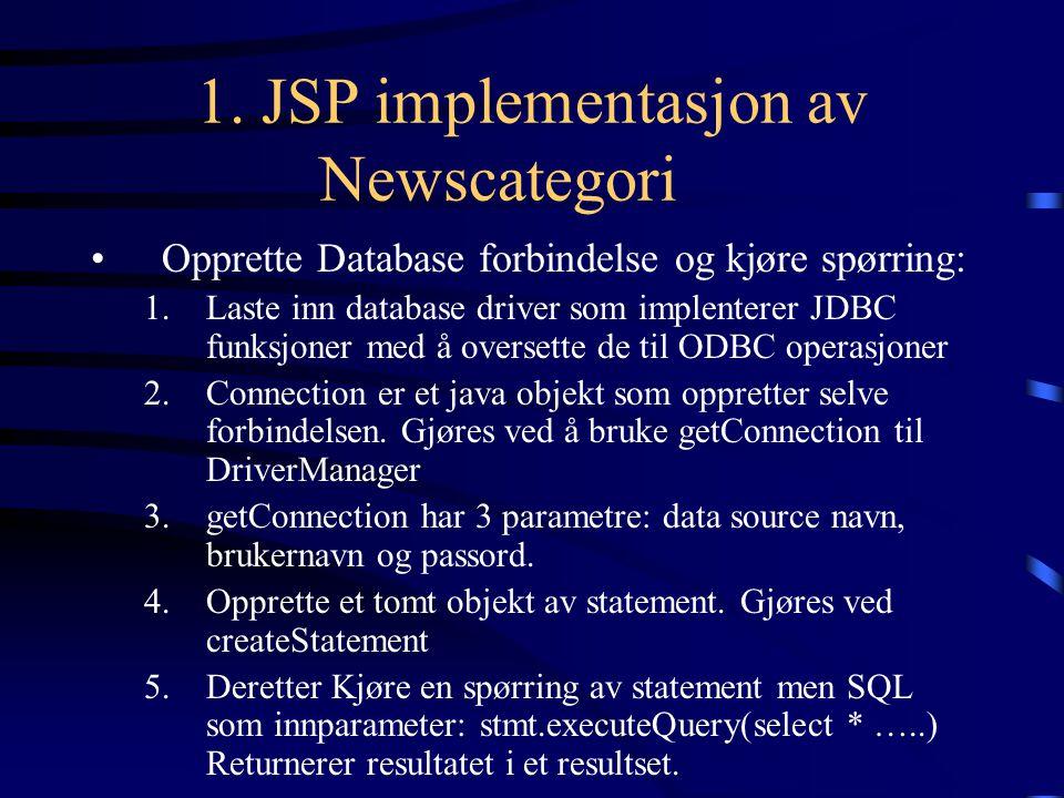 1. JSP implementasjon av Newscategori Opprette Database forbindelse og kjøre spørring: 1.Laste inn database driver som implenterer JDBC funksjoner med