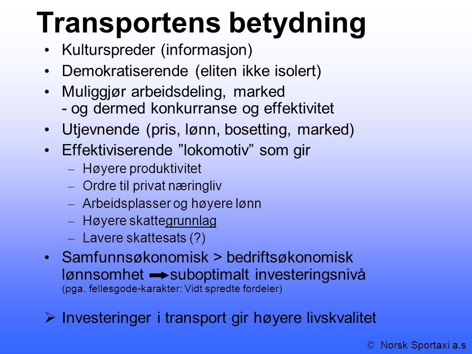 Transportens betydning Kulturspreder (informasjon) Demokratiserende (eliten ikke isolert) Muliggjør arbeidsdeling, marked - og dermed konkurranse og effektivitet Utjevnende (pris, lønn, bosetting, marked) Effektiviserende lokomotiv som gir – Høyere produktivitet – Ordre til privat næringliv – Arbeidsplasser og høyere lønn – Høyere skattegrunnlag – Lavere skattesats (?) Samfunnsøkonomisk > bedriftsøkonomisk lønnsomhet suboptimalt investeringsnivå (pga.