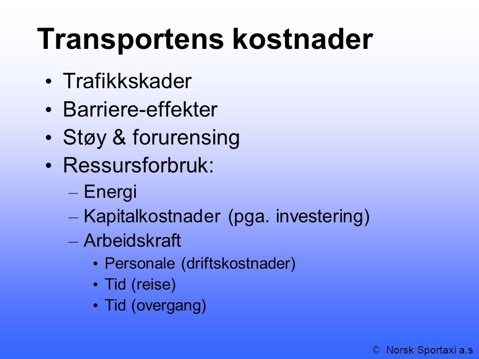 Transportens kostnader Trafikkskader Barriere-effekter Støy & forurensing Ressursforbruk: – Energi – Kapitalkostnader (pga.
