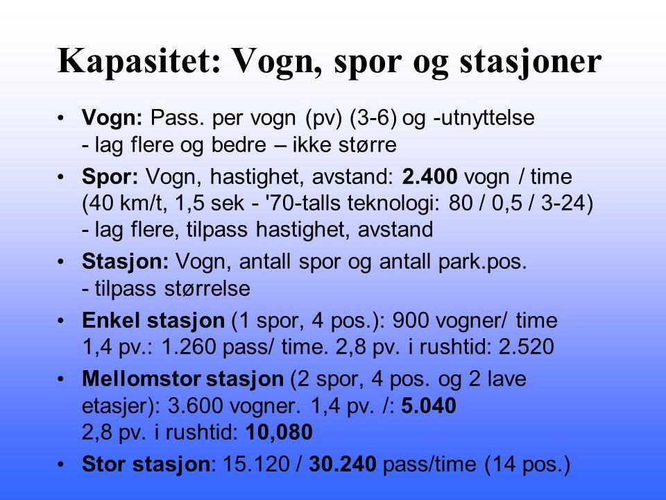 Kapasitet: Vogn, spor og stasjoner Vogn: Pass. per vogn (pv) (3-6) og -utnyttelse - lag flere og bedre – ikke større Spor: Vogn, hastighet, avstand: 2