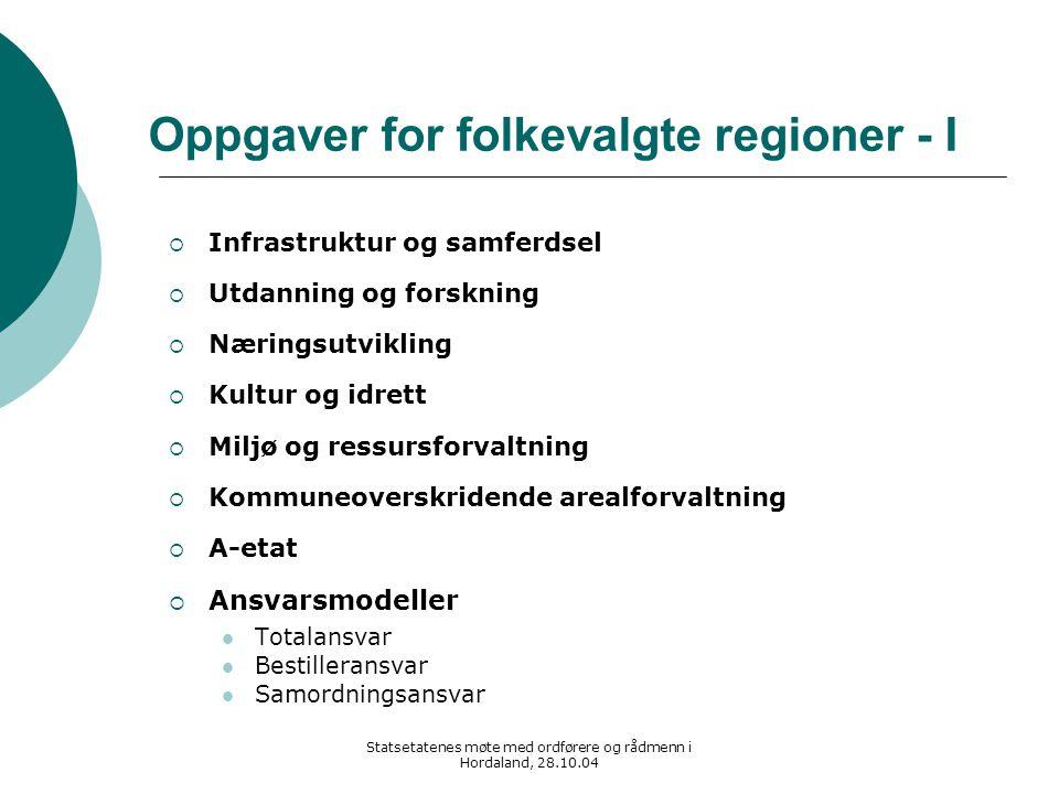 Statsetatenes møte med ordførere og rådmenn i Hordaland, 28.10.04 Oppgaver for folkevalgte regioner - I  Infrastruktur og samferdsel  Utdanning og f