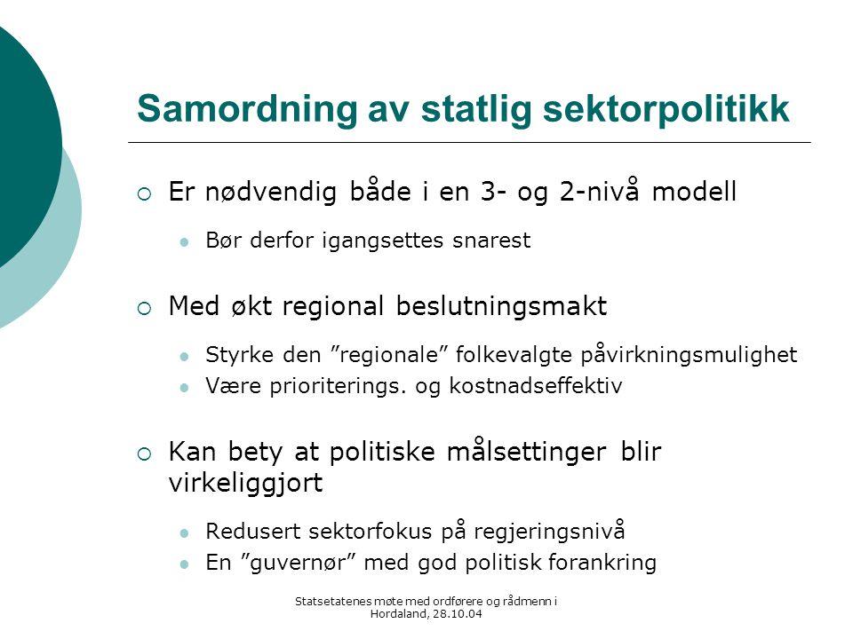 Statsetatenes møte med ordførere og rådmenn i Hordaland, 28.10.04 Samordning av statlig sektorpolitikk  Er nødvendig både i en 3- og 2-nivå modell Bø