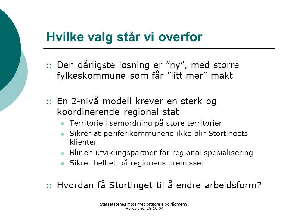 """Statsetatenes møte med ordførere og rådmenn i Hordaland, 28.10.04 Hvilke valg står vi overfor  Den dårligste løsning er """"ny"""", med større fylkeskommun"""