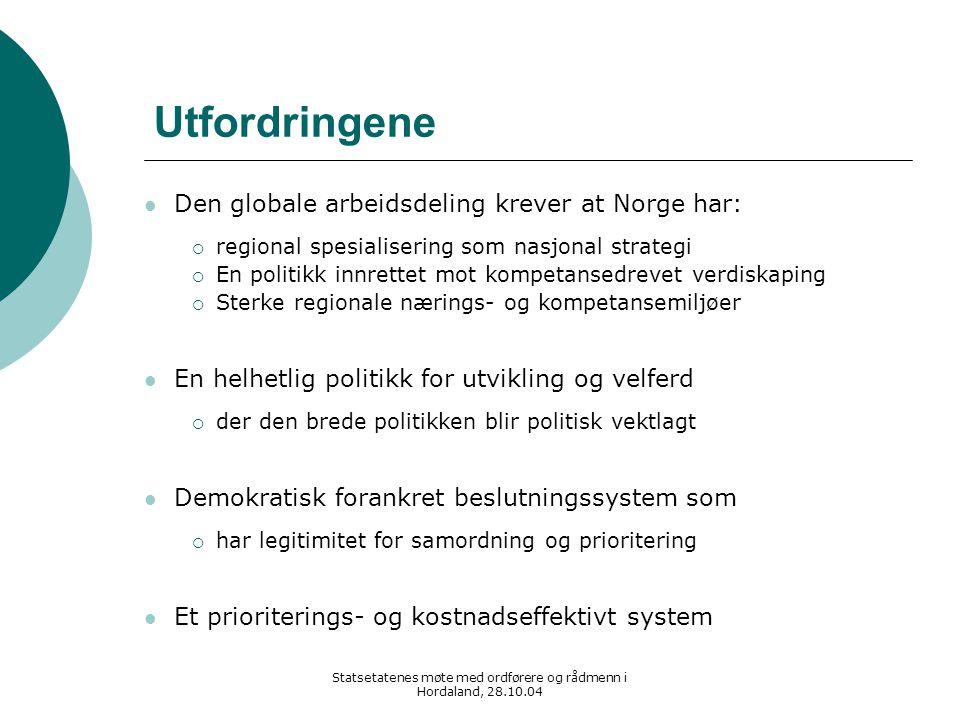 Statsetatenes møte med ordførere og rådmenn i Hordaland, 28.10.04 Utfordringene Den globale arbeidsdeling krever at Norge har:  regional spesialiseri