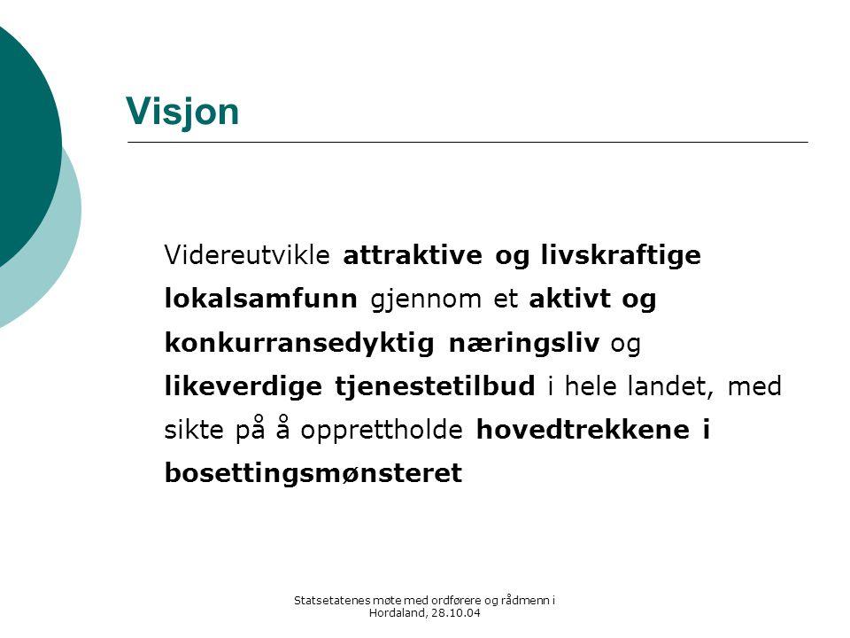 Statsetatenes møte med ordførere og rådmenn i Hordaland, 28.10.04 Visjon Videreutvikle attraktive og livskraftige lokalsamfunn gjennom et aktivt og ko