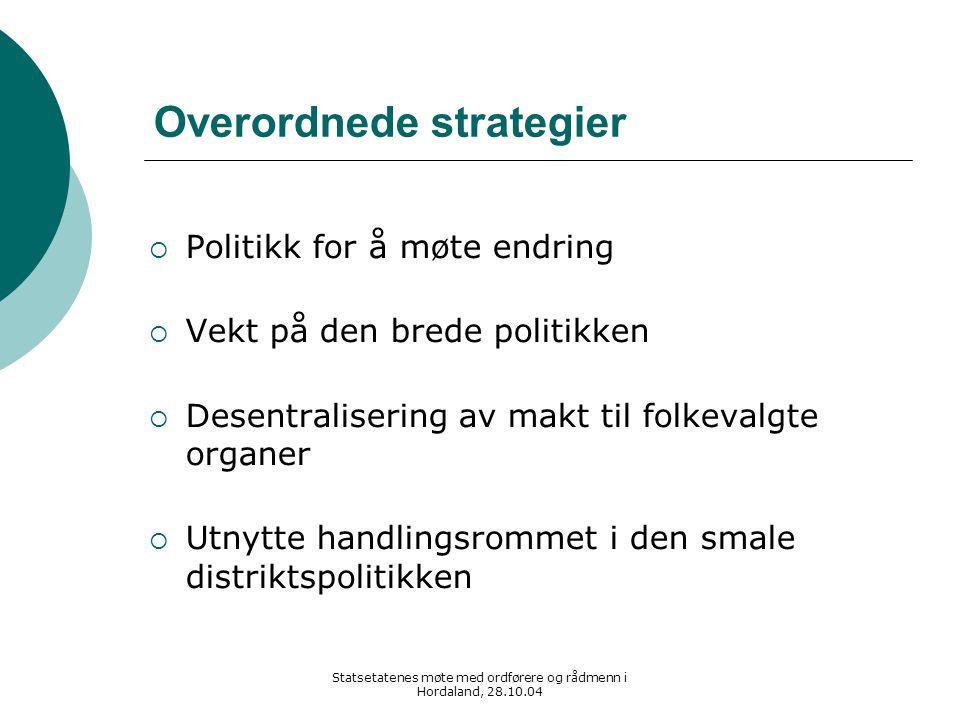 Statsetatenes møte med ordførere og rådmenn i Hordaland, 28.10.04 Overordnede strategier  Politikk for å møte endring  Vekt på den brede politikken