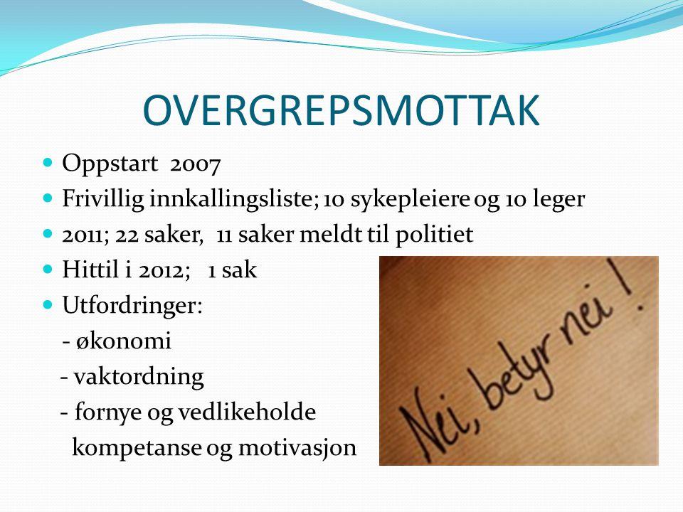 OVERGREPSMOTTAK Oppstart 2007 Frivillig innkallingsliste; 10 sykepleiere og 10 leger 2011; 22 saker, 11 saker meldt til politiet Hittil i 2012; 1 sak