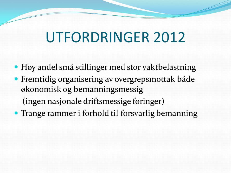UTFORDRINGER 2012 Høy andel små stillinger med stor vaktbelastning Fremtidig organisering av overgrepsmottak både økonomisk og bemanningsmessig (ingen