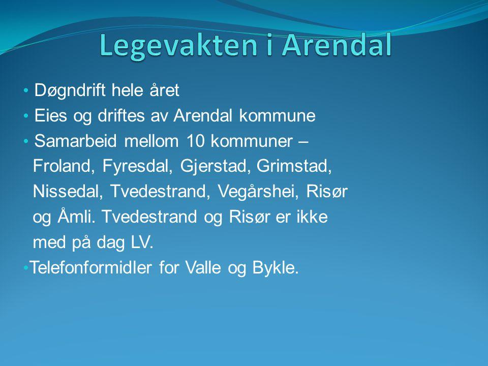 Døgndrift hele året Eies og driftes av Arendal kommune Samarbeid mellom 10 kommuner – Froland, Fyresdal, Gjerstad, Grimstad, Nissedal, Tvedestrand, Ve