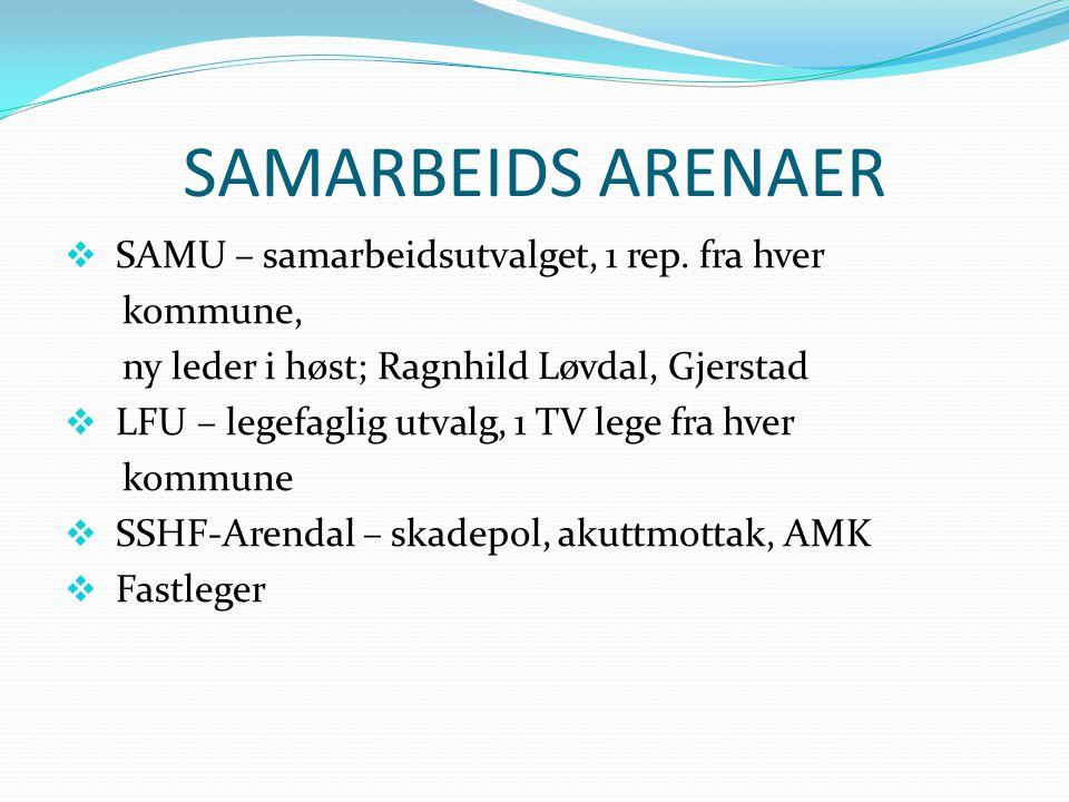 SAMARBEIDS ARENAER  SAMU – samarbeidsutvalget, 1 rep. fra hver kommune, ny leder i høst; Ragnhild Løvdal, Gjerstad  LFU – legefaglig utvalg, 1 TV le
