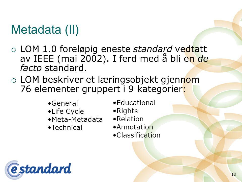 10 Metadata (II)  LOM 1.0 foreløpig eneste standard vedtatt av IEEE (mai 2002).