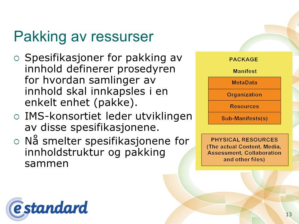 13 Pakking av ressurser  Spesifikasjoner for pakking av innhold definerer prosedyren for hvordan samlinger av innhold skal innkapsles i en enkelt enhet (pakke).