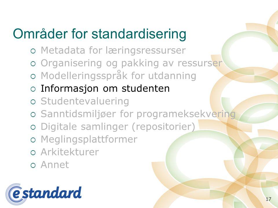 17 Områder for standardisering  Metadata for læringsressurser  Organisering og pakking av ressurser  Modelleringsspråk for utdanning  Informasjon om studenten  Studentevaluering  Sanntidsmiljøer for programeksekvering  Digitale samlinger (repositorier)  Meglingsplattformer  Arkitekturer  Annet