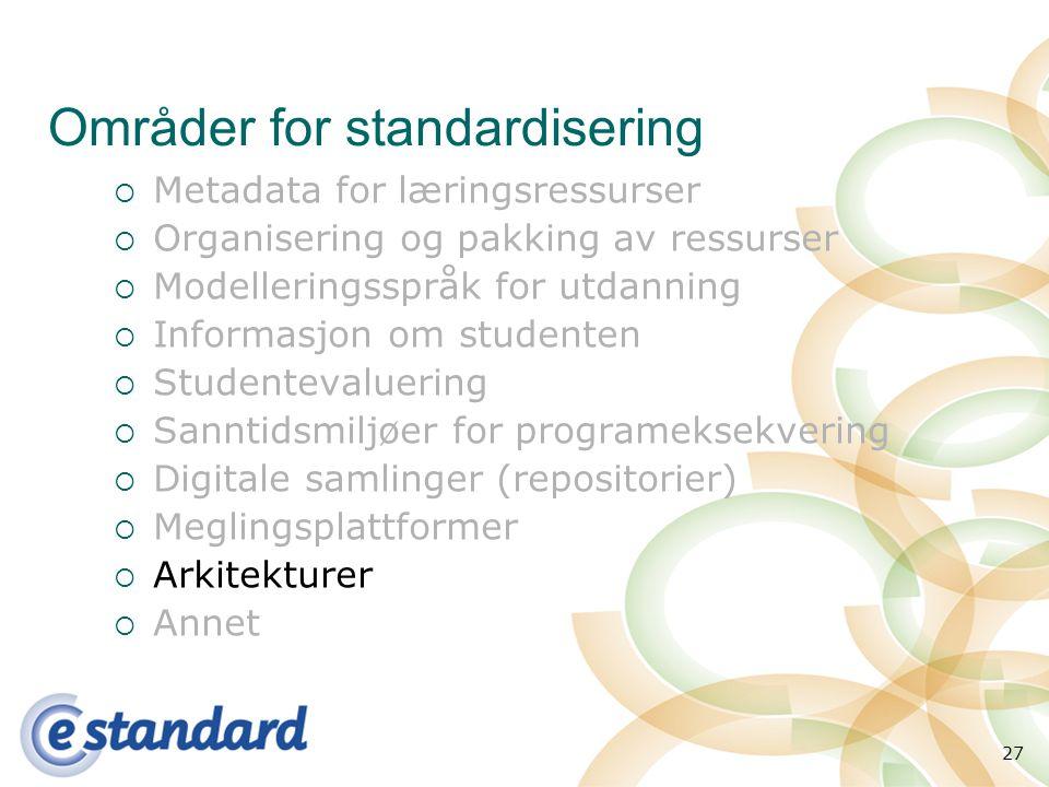 27 Områder for standardisering  Metadata for læringsressurser  Organisering og pakking av ressurser  Modelleringsspråk for utdanning  Informasjon om studenten  Studentevaluering  Sanntidsmiljøer for programeksekvering  Digitale samlinger (repositorier)  Meglingsplattformer  Arkitekturer  Annet