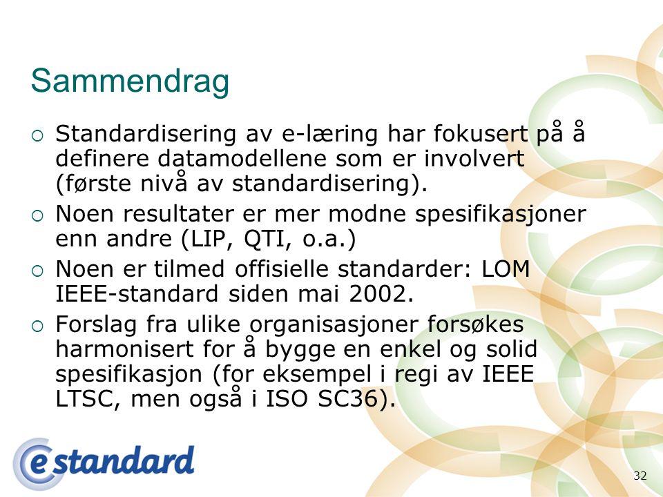 32 Sammendrag  Standardisering av e-læring har fokusert på å definere datamodellene som er involvert (første nivå av standardisering).