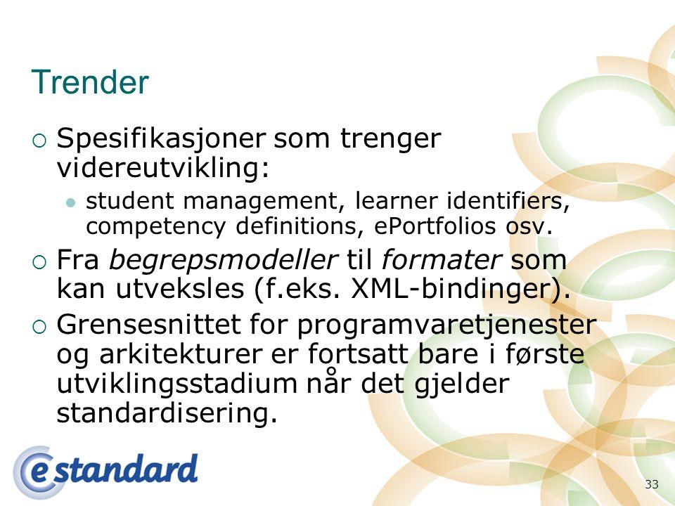 33 Trender  Spesifikasjoner som trenger videreutvikling: student management, learner identifiers, competency definitions, ePortfolios osv.