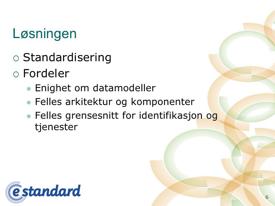 6 Løsningen  Standardisering  Fordeler Enighet om datamodeller Felles arkitektur og komponenter Felles grensesnitt for identifikasjon og tjenester