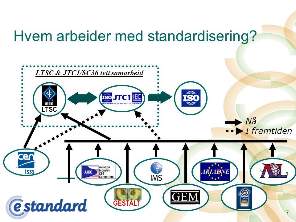 7 Hvem arbeider med standardisering GESTALT LTSC LTSC & JTC1/SC36 tett samarbeid Nå I framtiden