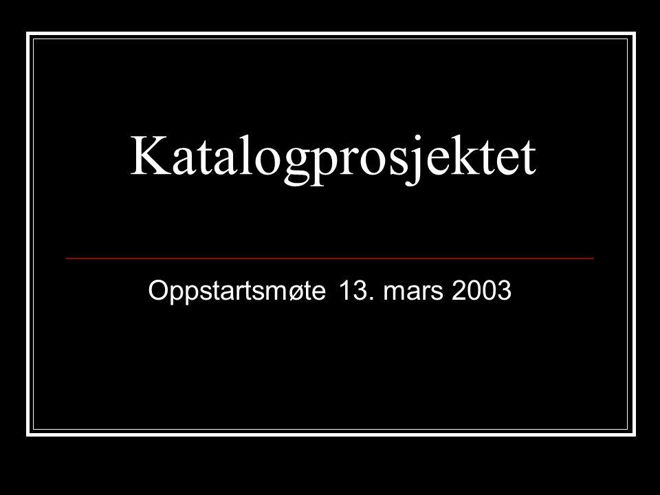 Katalogprosjektet Oppstartsmøte 13. mars 2003