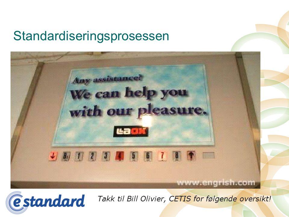 Standardiseringsprosessen Takk til Bill Olivier, CETIS for følgende oversikt!