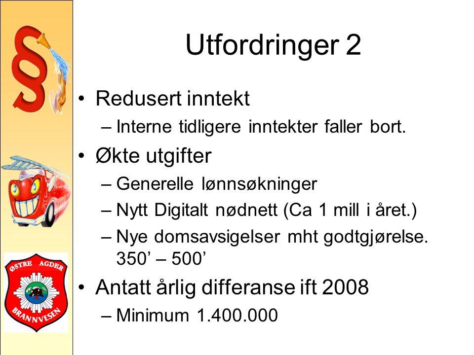 Utfordringer 2 Redusert inntekt –Interne tidligere inntekter faller bort.