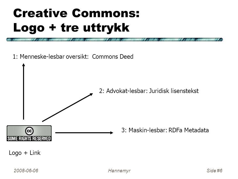 2008-06-06HannemyrSide #6 Creative Commons: Logo + tre uttrykk 1: Menneske-lesbar oversikt: Commons Deed 2: Advokat-lesbar: Juridisk lisenstekst 3: Maskin-lesbar: RDFa Metadata Logo + Link