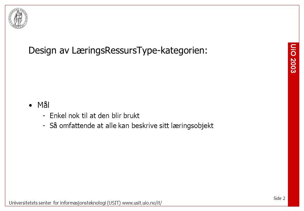 UiO 2003 Universitetets senter for informasjonsteknologi (USIT) www.usit.uio.no/it/ Side 3 Utgangspunkt i Internasjonale standarder -CanCore -UKLom (UKCMF) -IEEE Lom Norske initiativ -utdanning.no
