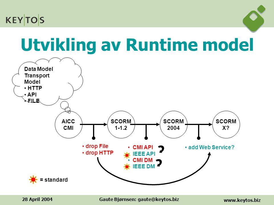 www.keytos.biz 28 April 2004Gaute Bjørnsen: gaute@keytos.biz Utvikling av Runtime model = standard SCORM 1-1.2 SCORM 2004 SCORM X.