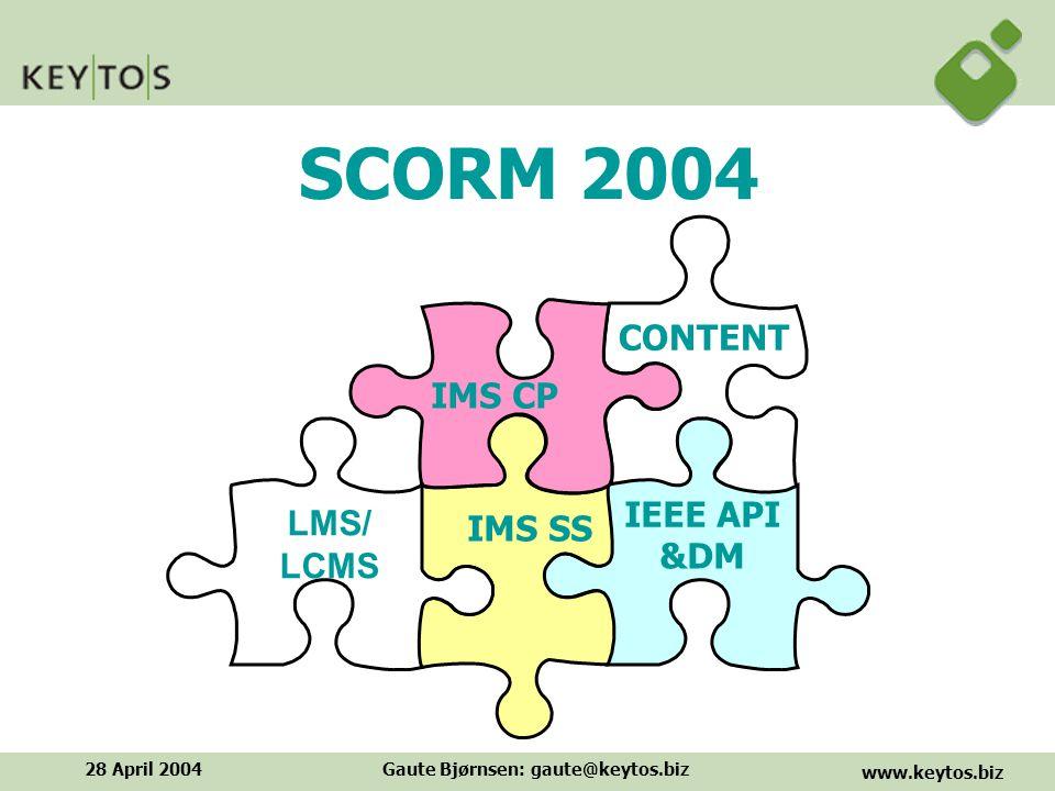 www.keytos.biz 28 April 2004Gaute Bjørnsen: gaute@keytos.biz SCORM 2004 CONTENT IEEE API IMS SS IMS CP &DM LMS/ LCMS