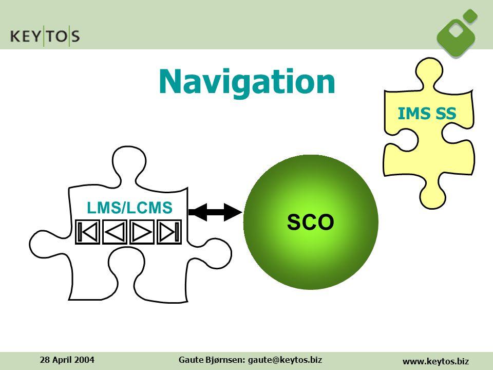 www.keytos.biz 28 April 2004Gaute Bjørnsen: gaute@keytos.biz LMS/LCMS Navigation SCO IMS SS