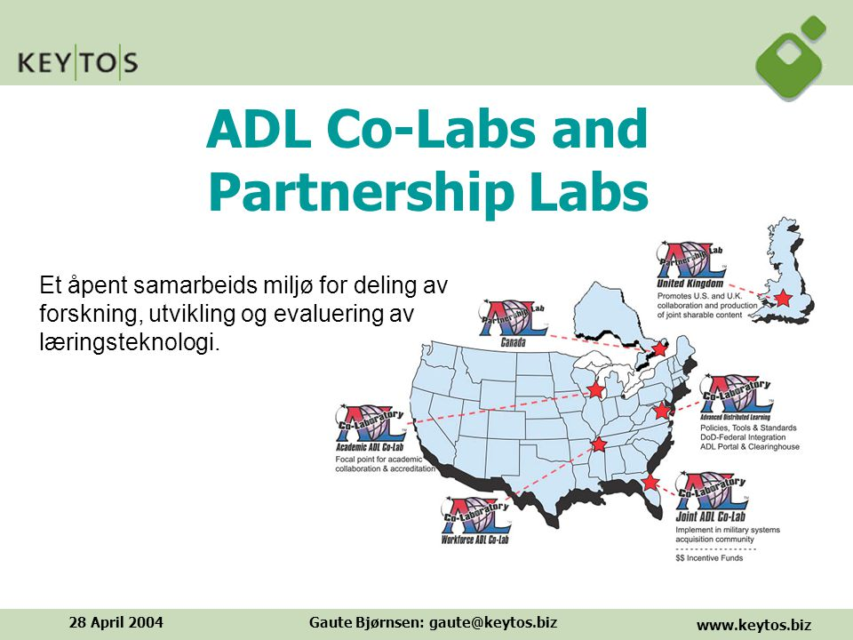 www.keytos.biz 28 April 2004Gaute Bjørnsen: gaute@keytos.biz ADL Model for Standards Evolution
