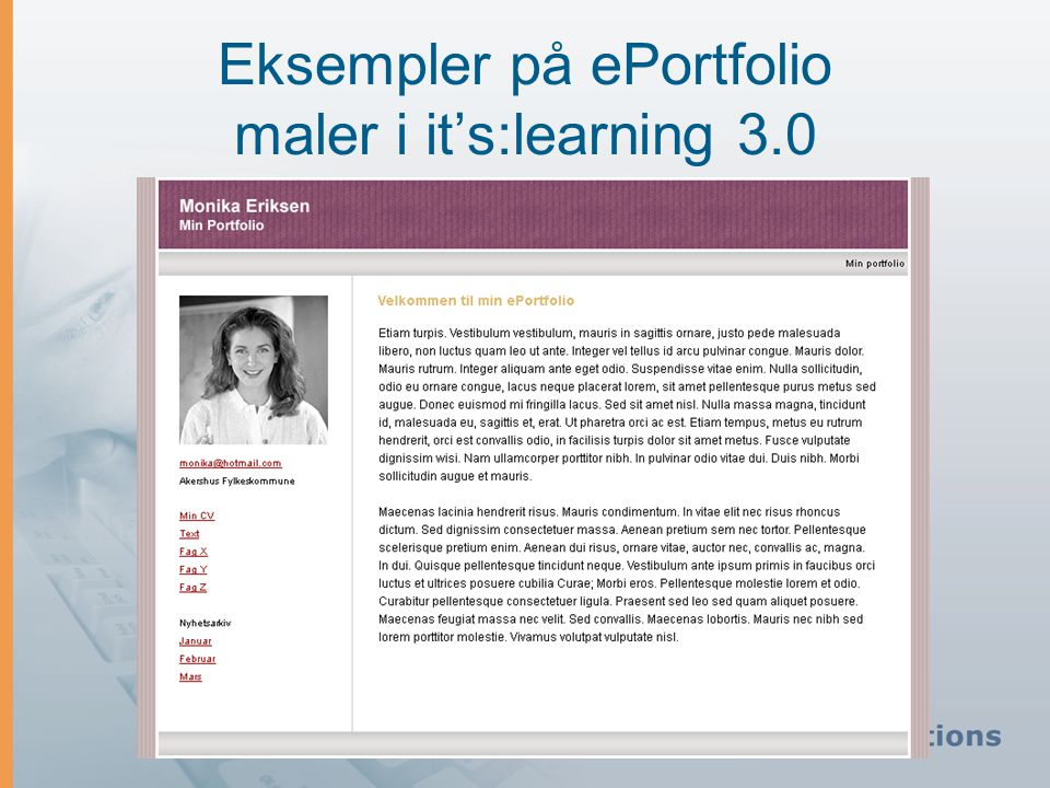 Eksempler på ePortfolio maler i it's:learning 3.0