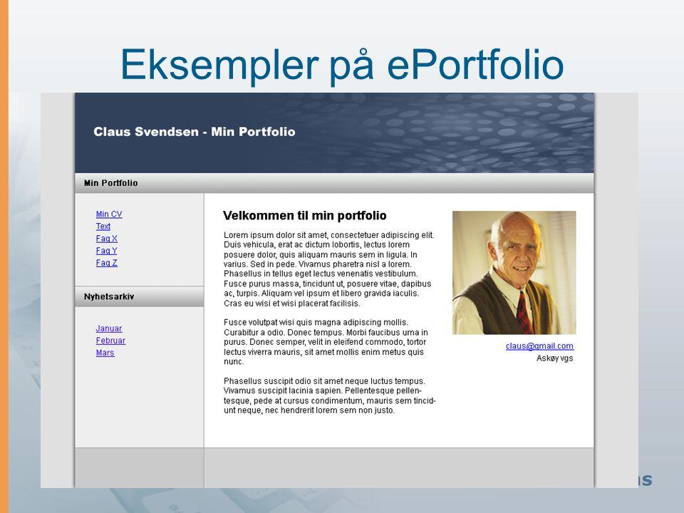 Eksempler på ePortfolio