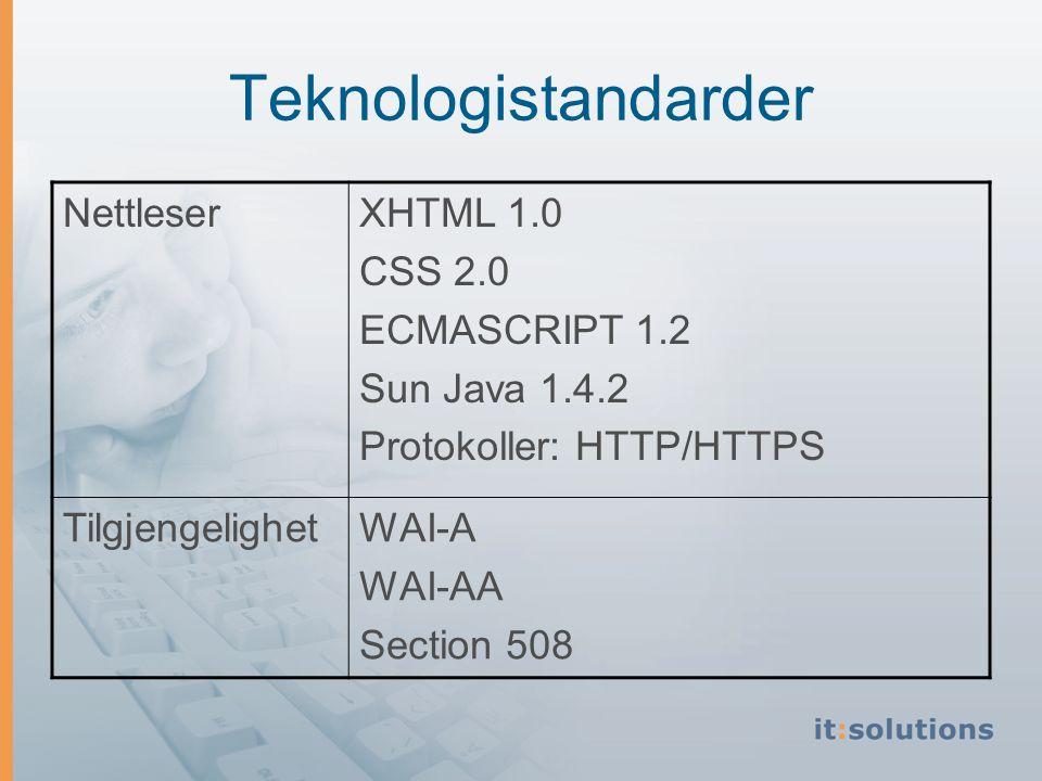Teknologistandarder NettleserXHTML 1.0 CSS 2.0 ECMASCRIPT 1.2 Sun Java 1.4.2 Protokoller: HTTP/HTTPS TilgjengelighetWAI-A WAI-AA Section 508