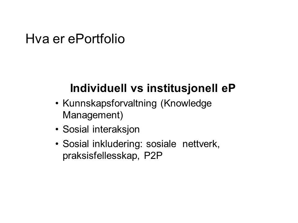 Hva er ePortfolio Individuell vs institusjonell eP Kunnskapsforvaltning (Knowledge Management) Sosial interaksjon Sosial inkludering: sosiale nettverk, praksisfellesskap, P2P