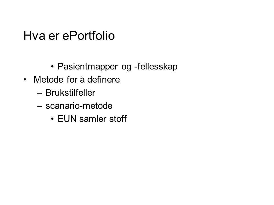 Hva er ePortfolio Pasientmapper og -fellesskap Metode for å definere –Brukstilfeller –scanario-metode EUN samler stoff