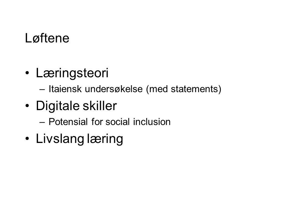 Løftene Læringsteori –Itaiensk undersøkelse (med statements) Digitale skiller –Potensial for social inclusion Livslang læring
