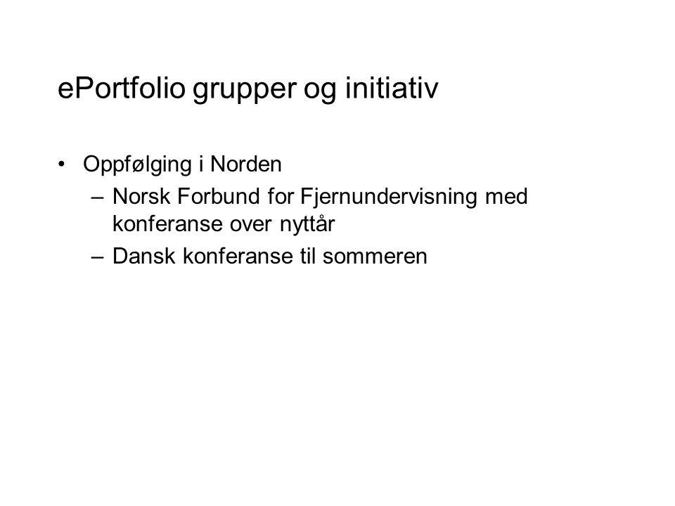 ePortfolio grupper og initiativ Oppfølging i Norden –Norsk Forbund for Fjernundervisning med konferanse over nyttår –Dansk konferanse til sommeren
