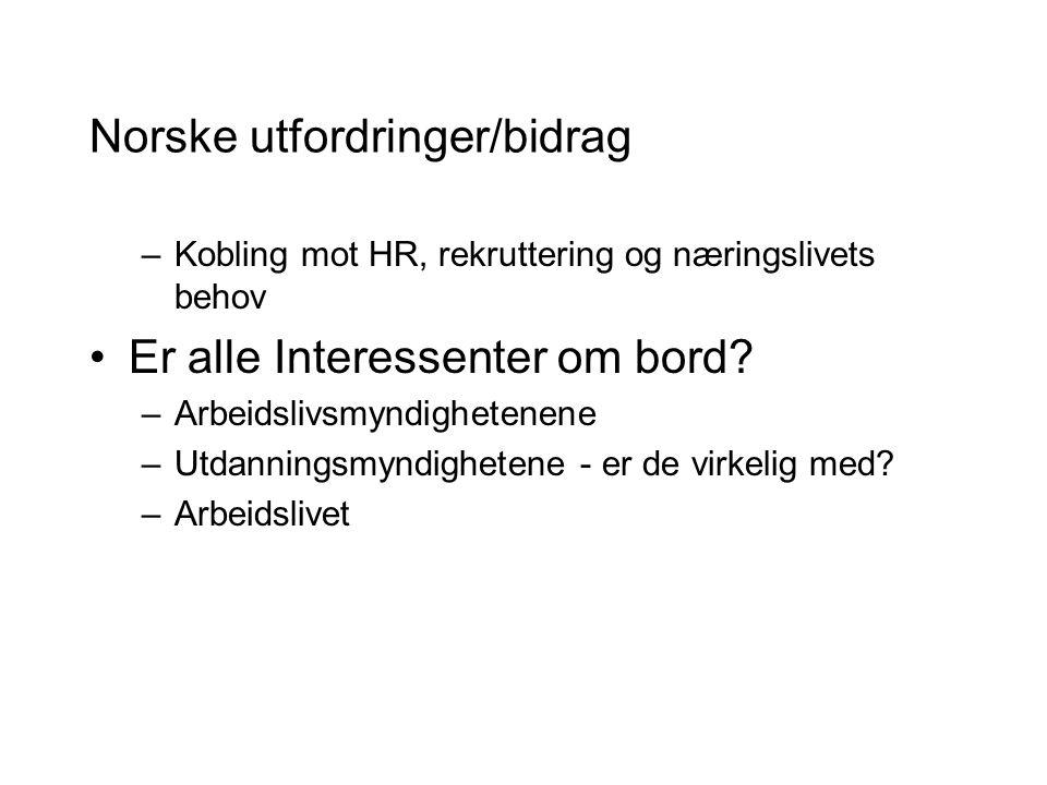Norske utfordringer/bidrag –Kobling mot HR, rekruttering og næringslivets behov Er alle Interessenter om bord.
