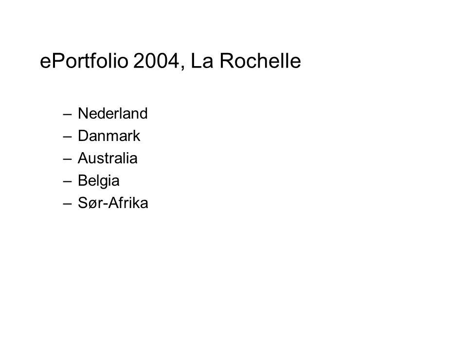 ePortfolio 2004, La Rochelle –Nederland –Danmark –Australia –Belgia –Sør-Afrika