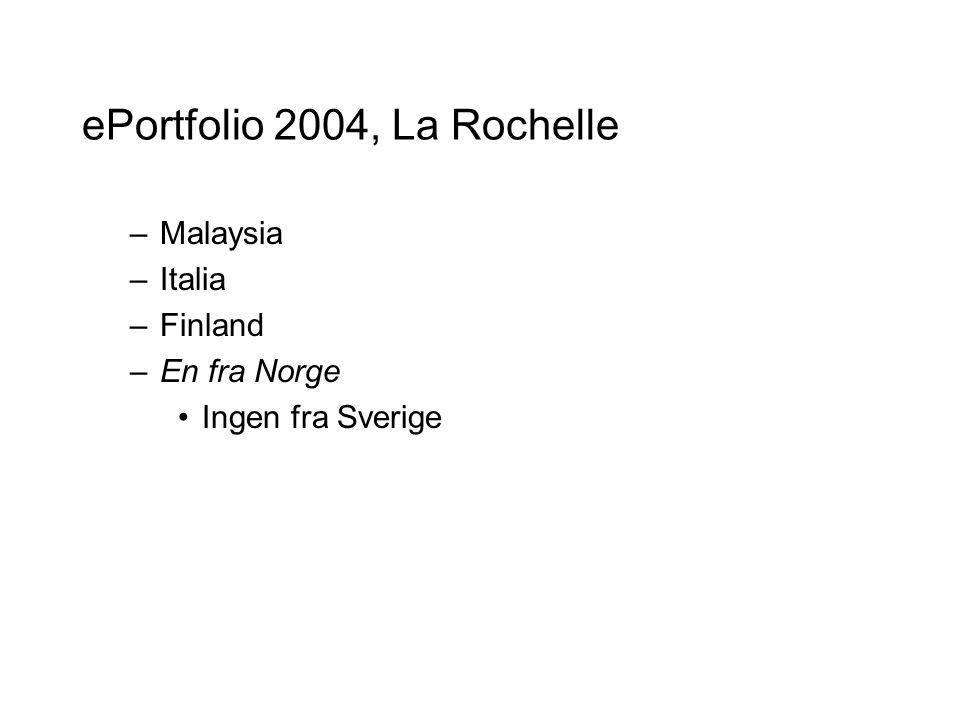 ePortfolio 2004, La Rochelle –Malaysia –Italia –Finland –En fra Norge Ingen fra Sverige