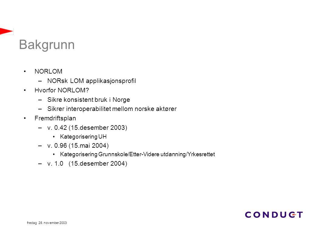 fredag 28. november 2003 Bakgrunn NORLOM –NORsk LOM applikasjonsprofil Hvorfor NORLOM? –Sikre konsistent bruk i Norge –Sikrer interoperabilitet mellom